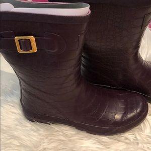 Joules purple rain boots 8